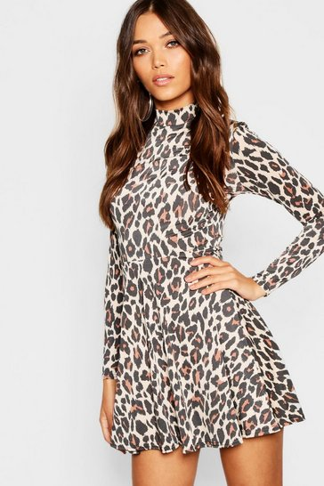 Womens High Neck Leopard Print Skater Dress