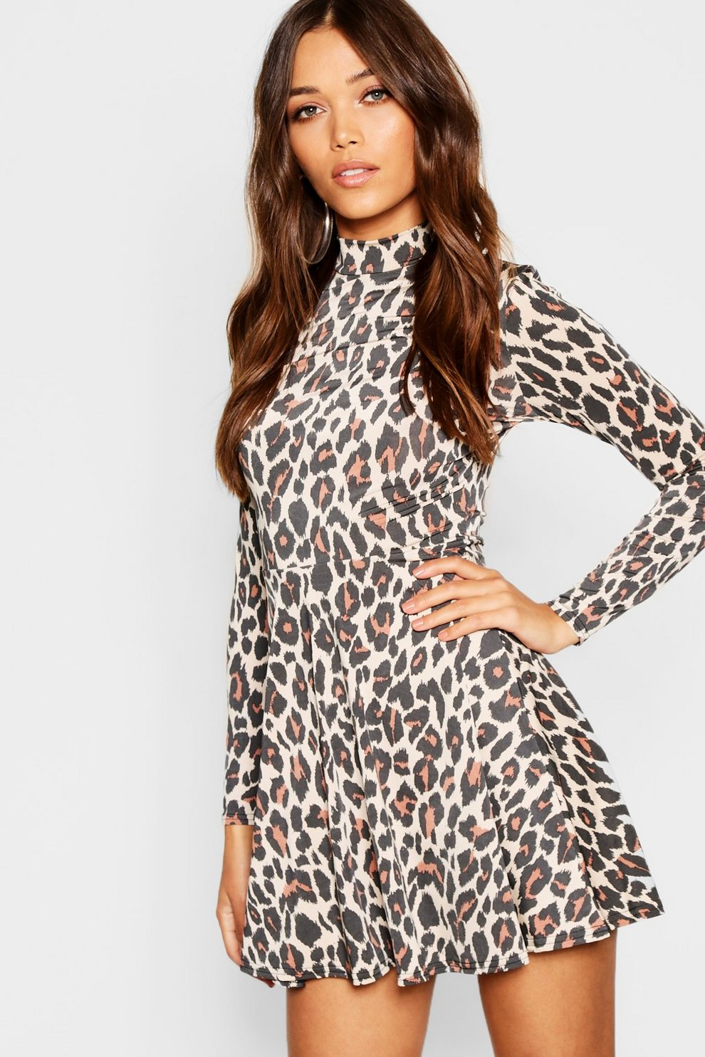 090bab06d81 High Neck Leopard Print Skater Dress | Boohoo
