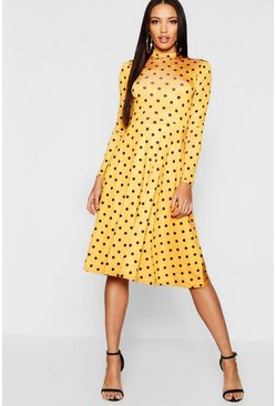 Womens Mustard High Neck Long Sleeve Polka Dot Midi Dress