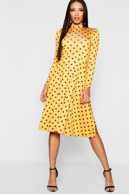 d7cfc11f2c25 Sale Dresses High Neck Long Sleeve Polka Dot Midi Dress