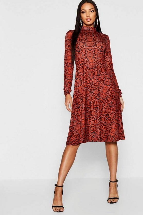 Rust High Neck Long Sleeve Snake Print Midi Dress