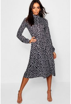 Black High Neck Long Sleeve Dalmatian Print Midi Dress