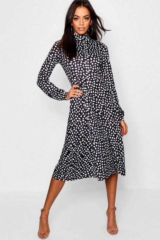 High Neck Long Sleeve Dalmatian Print Midi Dress