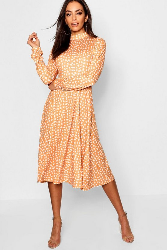 High Neck Long Sleeve Dalmation Print Midi Dress