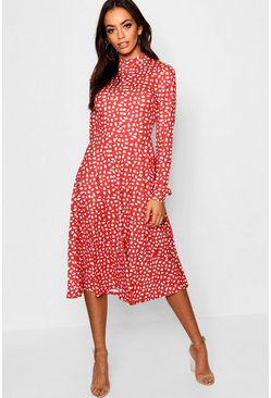 Red High Neck Long Sleeve Dalmatian Print Midi Dress