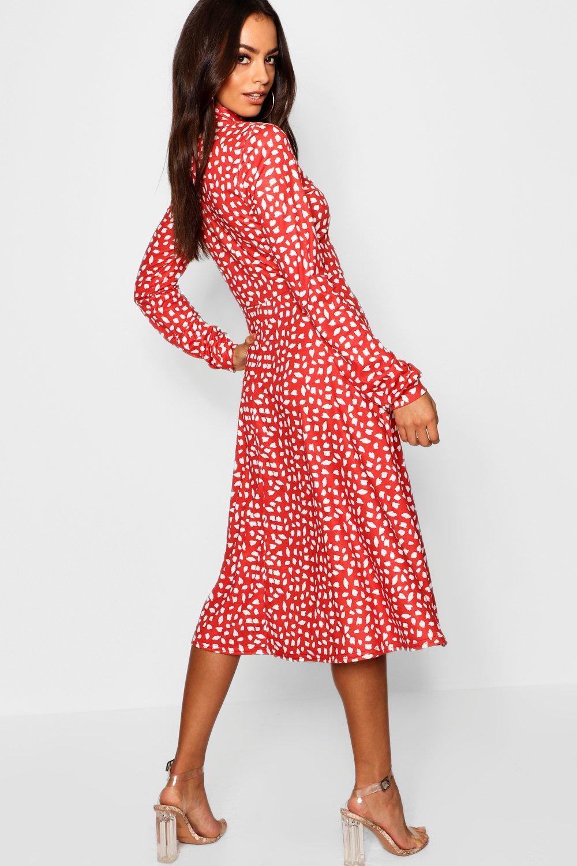 e2891315555fc Boohoo Womens High Neck Long Sleeve Dalmatian Print Midi Dress | eBay
