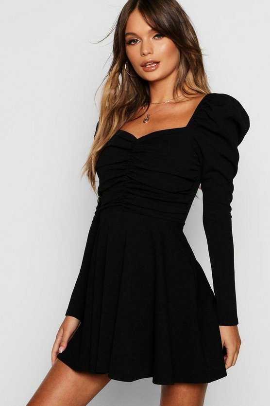 Womens Puff Sleeve Ruched Bodice Skater Dress