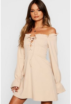 Womens Stone Flared Sleeve Lace Up Bodice Shift Dress