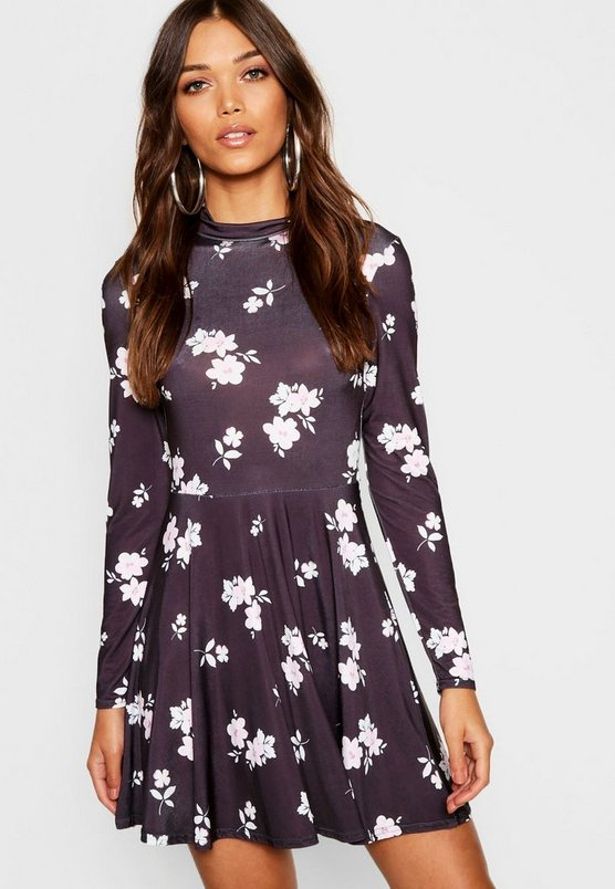 High Neck Ditsy Floral Skater Dress