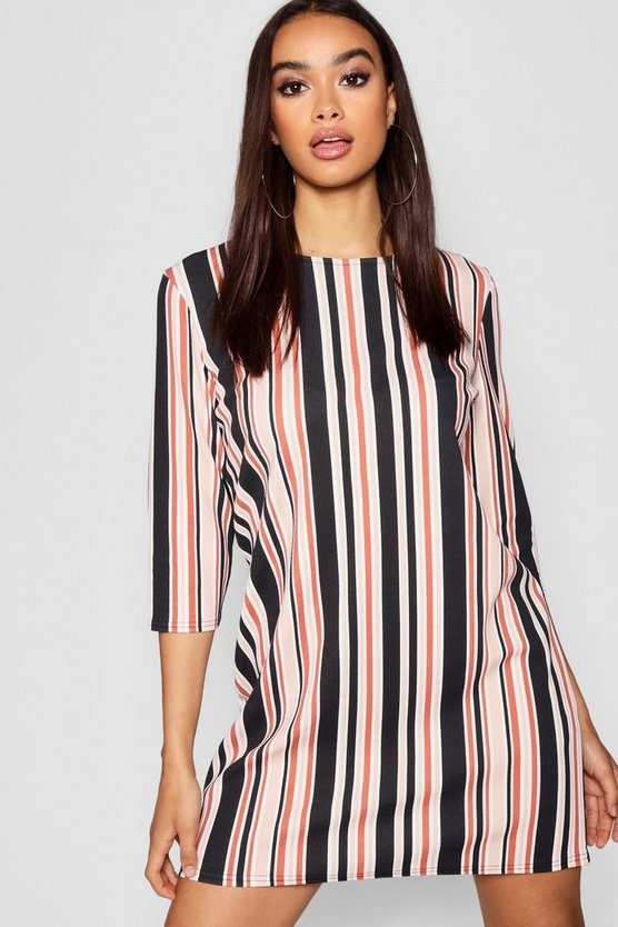 Tonal Stripe 3/4 Sleeve Shift Dress