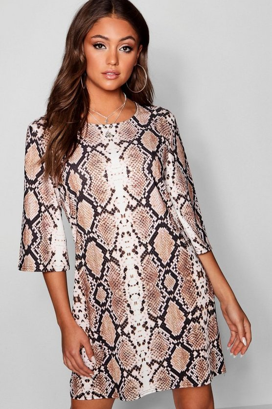 Womens Stone Snake Print Boxy Sleeve Shift Dress