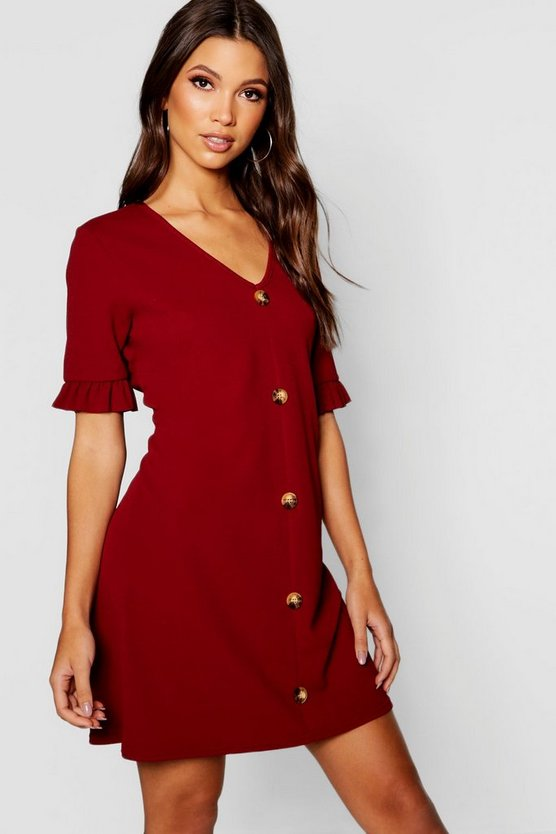 Horn Button Frill Sleeve Shift Dress