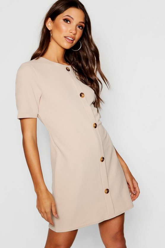 Horn Button Round Neck Shift Dress