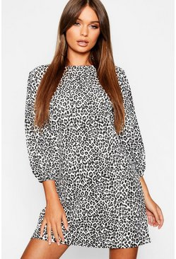 Womens Black Balloon Sleeve Leopard Print Shift Dress