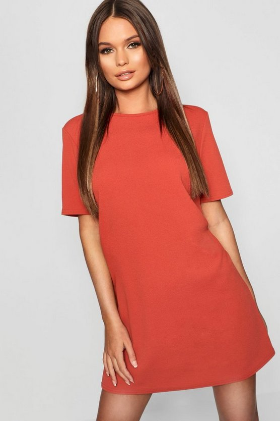 Crepe Short Sleeve Shift Dress