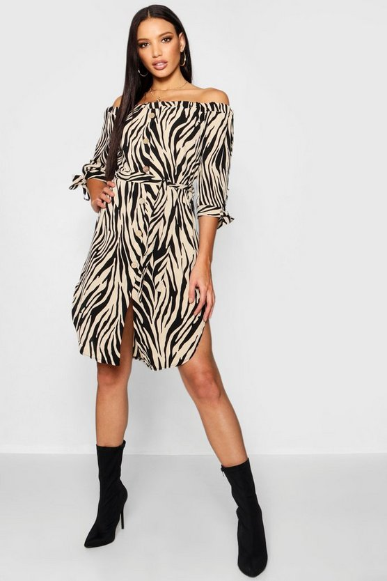 Zebra Print Horn Button Bardot Shift Dress