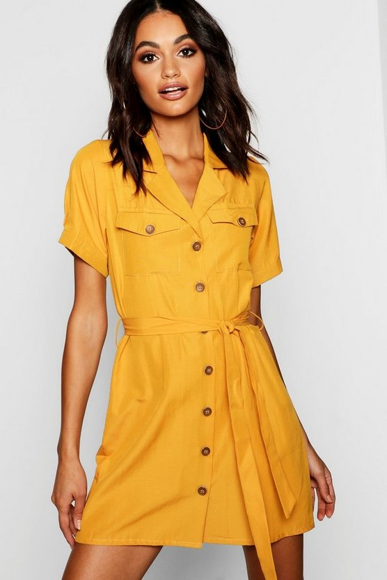 Utility Pocket Button Through Belted Dress