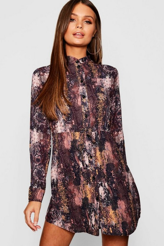 Womens Chocolate Snake Print Tie Waist Shirt Dress