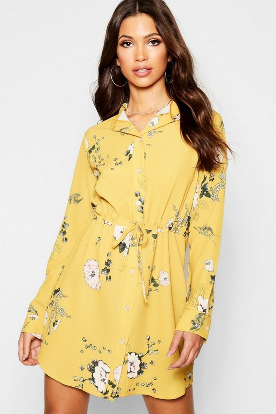 Womens Floral Tie Waist Shirt Dress