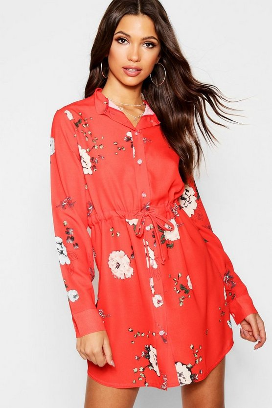 Womens Red Floral Tie Waist Shirt Dress