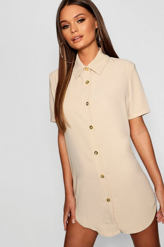 Woven Dip Hem Mini Shirt Dress