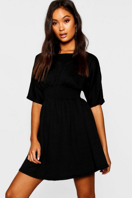 Womens Shirred Waist Loopback Sweat Dress