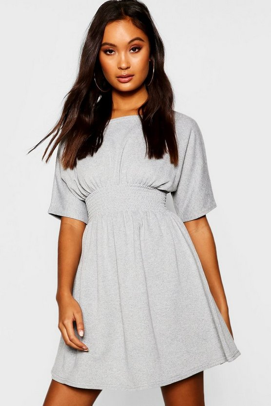 Shirred Waist Loopback Sweat Dress