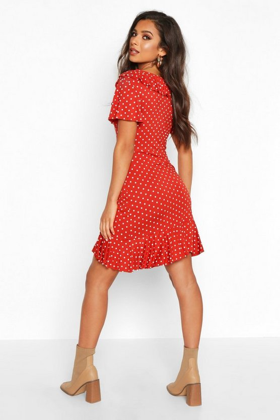 Polka Dot Wrap Front Ruffle Tea Dress