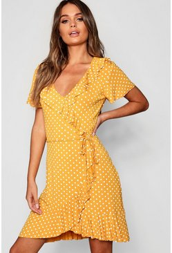 Womens Mustard Polka Dot Wrap Front Ruffle Tea Dress