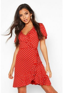 Womens Rust Polka Dot Wrap Front Ruffle Tea Dress