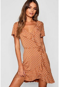 Caramel Polka Dot Wrap Front Ruffle Tea Dress