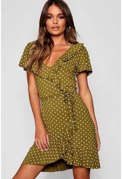 Womens Olive Polka Dot Wrap Front Ruffle Tea Dress