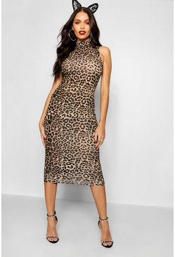 Womens Brown Leopard Print High Neck Midi Dress