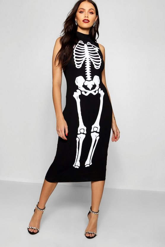 Womens Black Halloween Skeleton Print High Neck Midi Dress