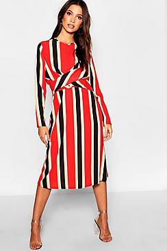 Bold Stripe Knot Front Skater Dress
