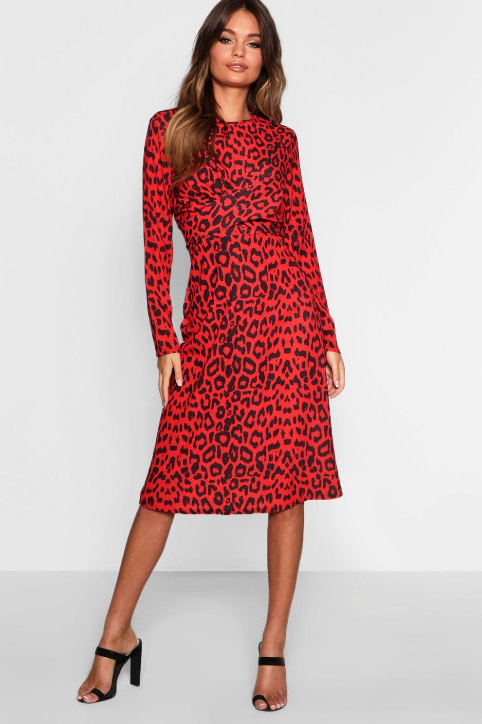 Red Leopard Knot Front Skater Dress  4ac847b73