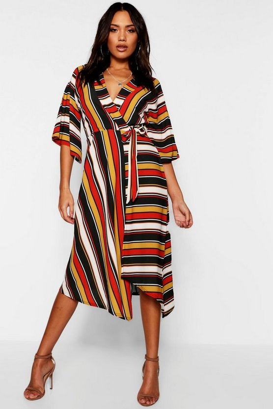 Asymetric Hem Striped Batwing Midi Dress