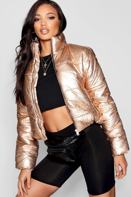 Puffer Crop Crop Metallic Jacket Metallic Jacket Puffer gold HcUSx