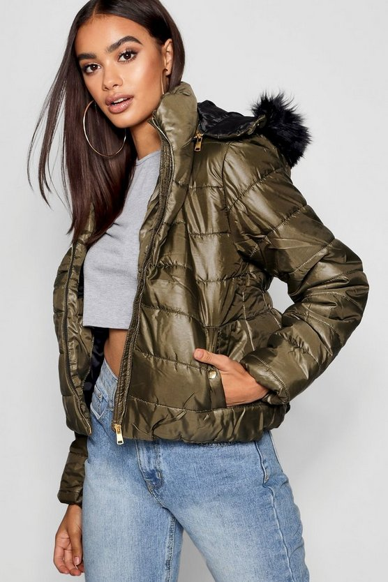 Synch Back Faux Fur Hooded Puffer Jacket