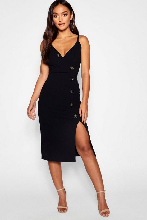 Petite Wrap Front Horn Button Midi Dress