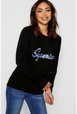 Womens Black Embroidered Slogan Sweat