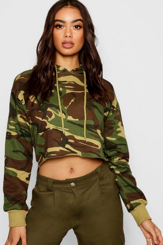 Womens Green Camo Cropped Hoody