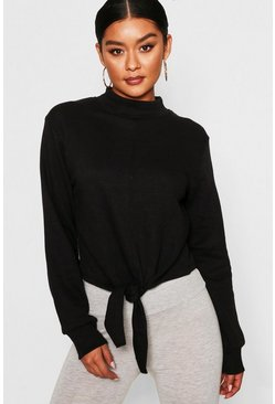 Womens Black Funnel Neck Tie Front Sweat