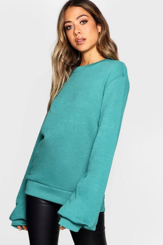 Womens Teal Balloon Sleeve Sweat