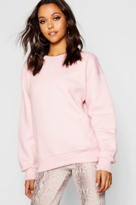Womens Pale pink Oversized Basic Crew Neck