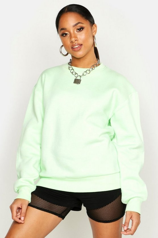Womens Washed lime Oversized Basic Crew Neck