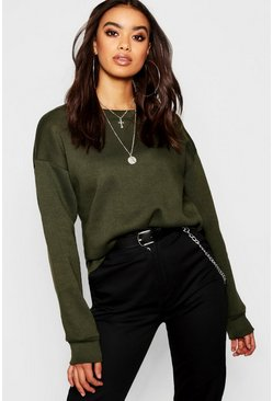 Dam Khaki Oversized Basic Crew Neck