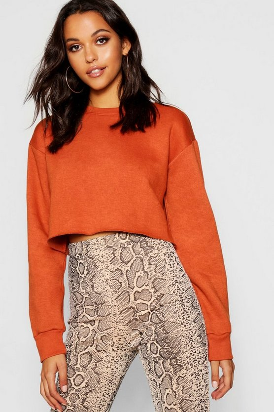 Womens Rust Crew Neck Cropped Sweat