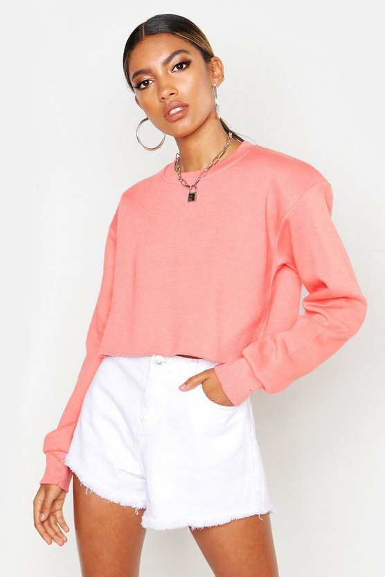 Womens Ice coral Crew Neck Cropped Sweat
