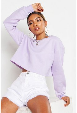 Womens Ice lilac Crew Neck Cropped Sweat